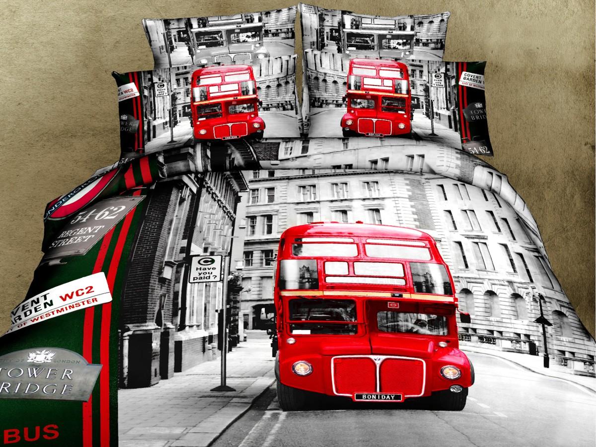 Евро комплект постельного белья 3D, красный автобус