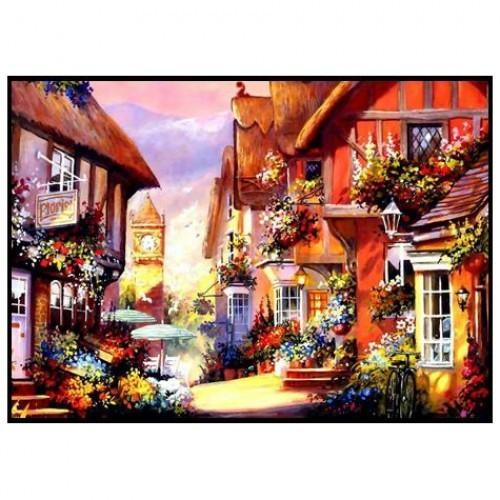 Картина-раскраска по номерам на холсте Городок