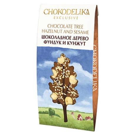 Фигурный шоколад с фундуком и кунжутом в форме дерева