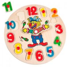 Пазл-вкладыш Часы с клоуном