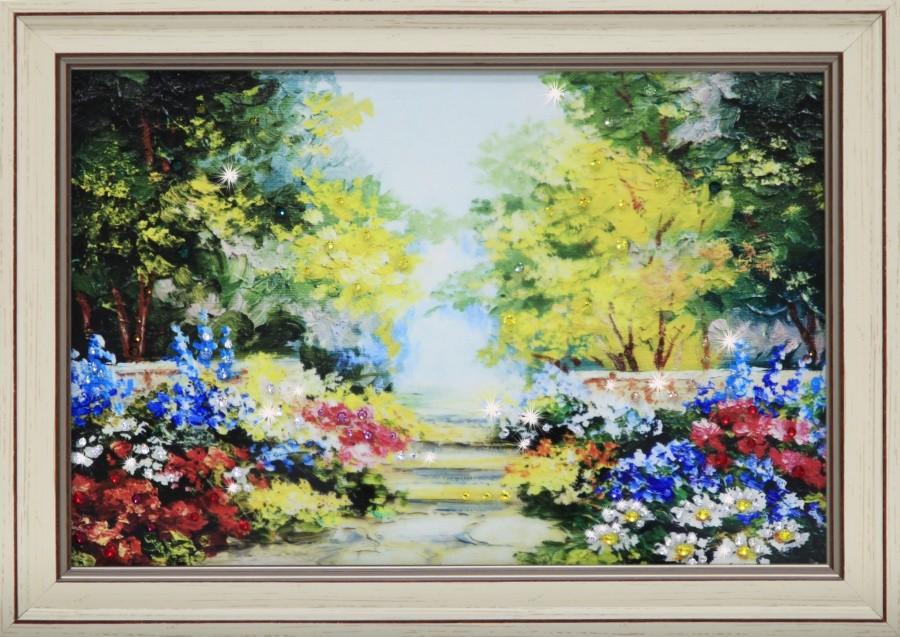 Картина с кристаллами Swarowski Цветущий сад