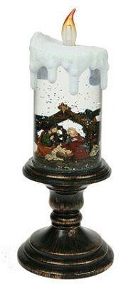 Декоративная водяная фигурка Свеча, с подсветкой, 29 см