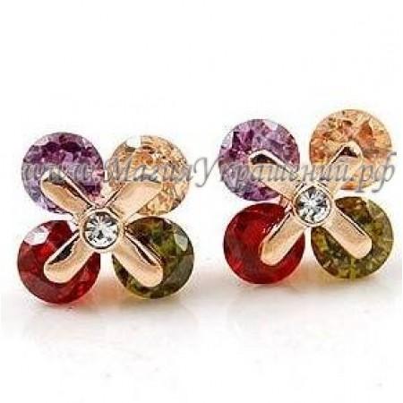 Серьги Разноцветные с кристаллами Swarovski