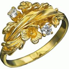 Кольцо с бриллиантом «Луговые цветы»