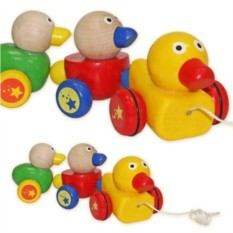 Деревянная игрушка-каталка Утята на веревочке