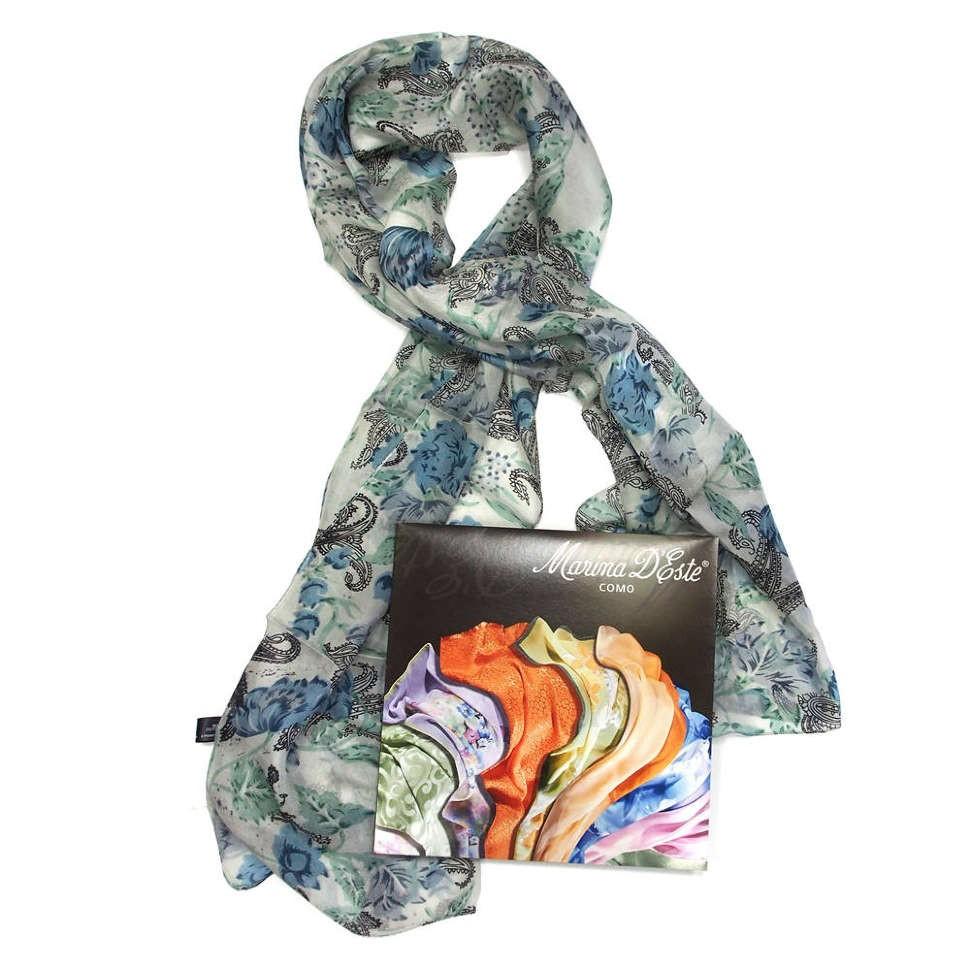 Серо-голубой женский шарф с узором пэйсли Marina D'este