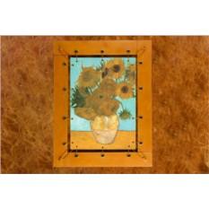 Картина из кожи Подсолнухи Ван Гог.