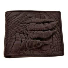 Мужской коричневый кошелек из крокодила с лапой