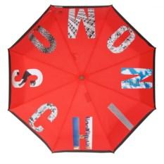 Красный зонт с логотипом Photo Moschino