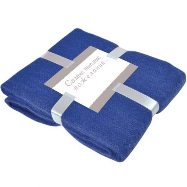 Синийй плед Mohair с подарочной открыткой