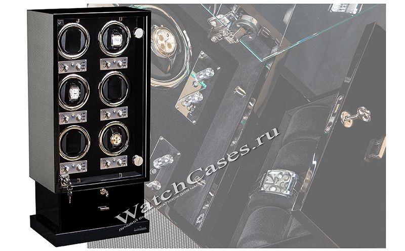 Шкатулка для часов с автоподзаводом, серый карбон, замша