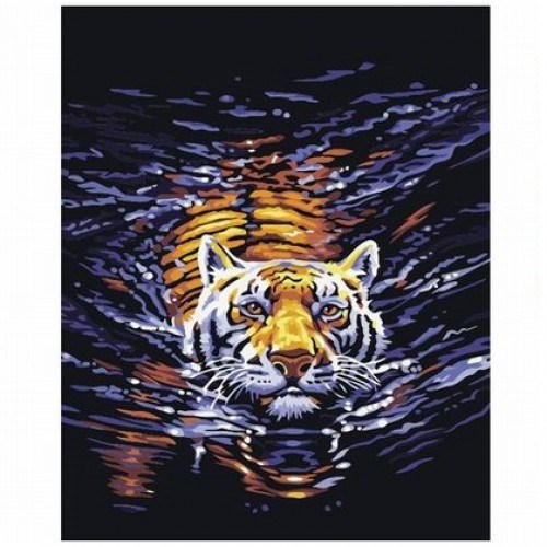 Картина-раскраска по номерам на холсте Ночной тигр