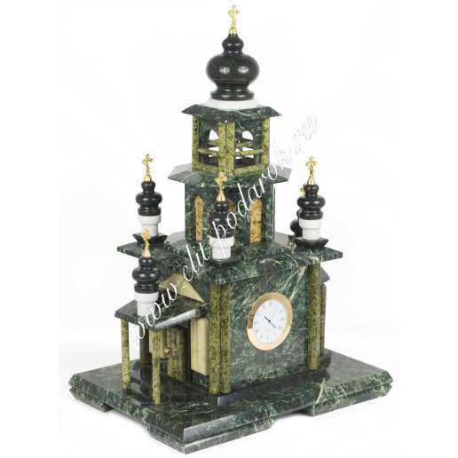 Часы из змеевика и мрамора Храм малый