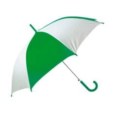 Бело-зеленый полуавтоматический зонт-трость