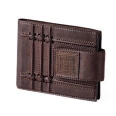 Коричневый кожаный кошелек с карманом для монет