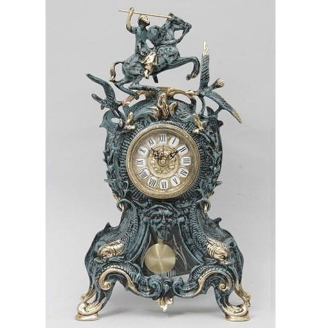 Часы бронзовые каминные Всадник и птицы
