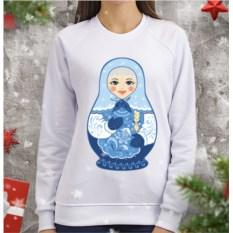 Женский свитшот Матрешка-снегурочка