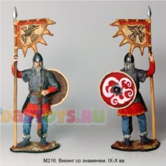 Оловянный солдатик Викинг со знаменем, IX-X вв.