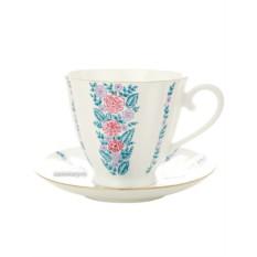 Фарфоровая чайная чашка с блюдцем Маргаритки
