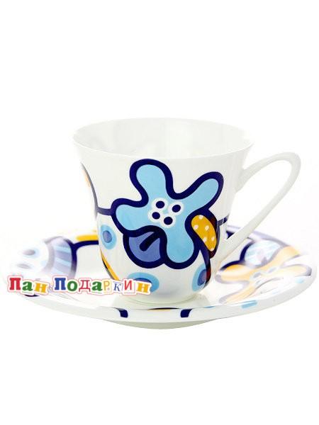 Чайный сервиз форма Сад с рисунком Эмилия синяя