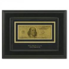Картина с банкнотой 100$, размер 23x27x2 см