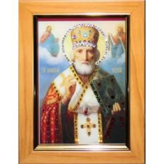 Малая икона с кристаллами Swarovski Николай Чудотворец