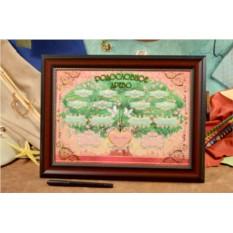 Родословное дерево в рамке с розовым фоном