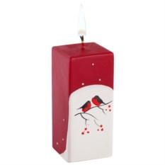 Свеча ручной работы «Снегири на снегу» в форме куба