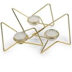 Золотистый набор из 3 подсвечников Tri-Angular Loop