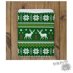 Шерстяной чехол для iPhone 5, 5s, 5c Белый олень (зеленый)