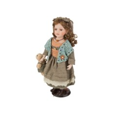 Фарфоровая кукла с мягконабивным туловищем, высота 45 см