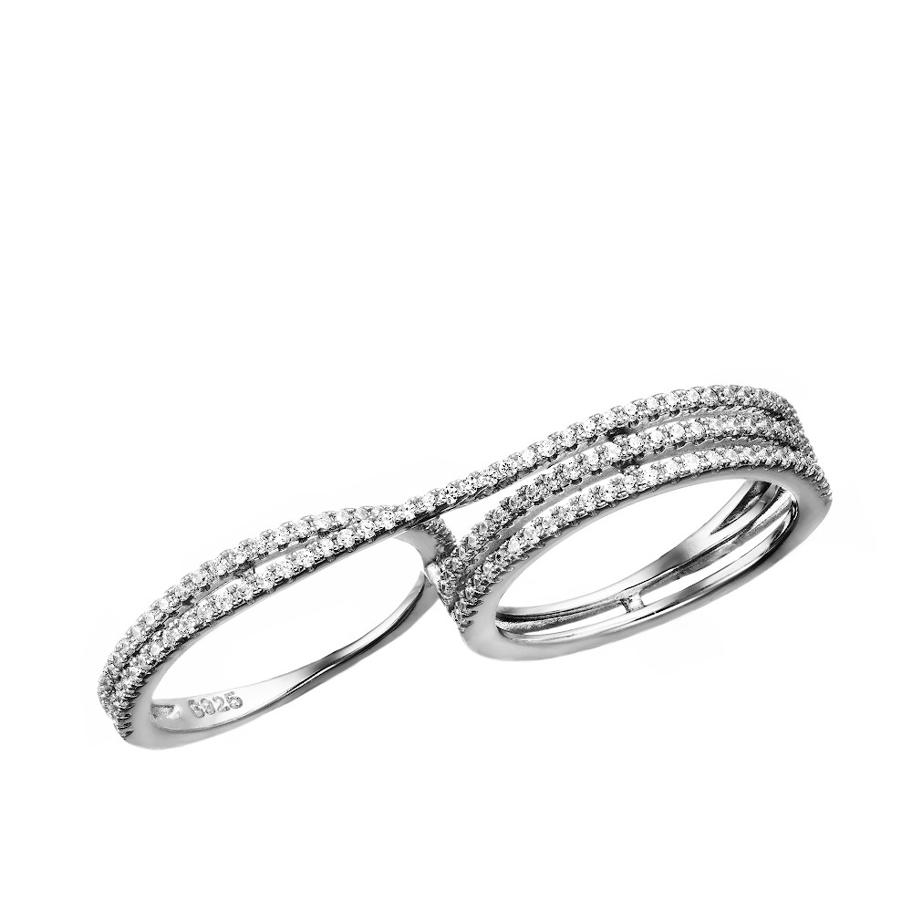 Оригинальное кольцо на два пальца с дорожками из фианитов