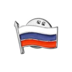 Серебряный значок Российский триколор