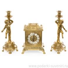 Золотые часы и 2 подсвечника на 1 свечу Ларец