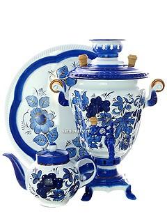 Самовар с росписью Гжель нежная, поднос и чайник