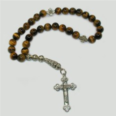 Христианские четки из тигрового глаза с крестом
