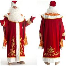Бархатный костюм Деда Мороза, с вышивкой