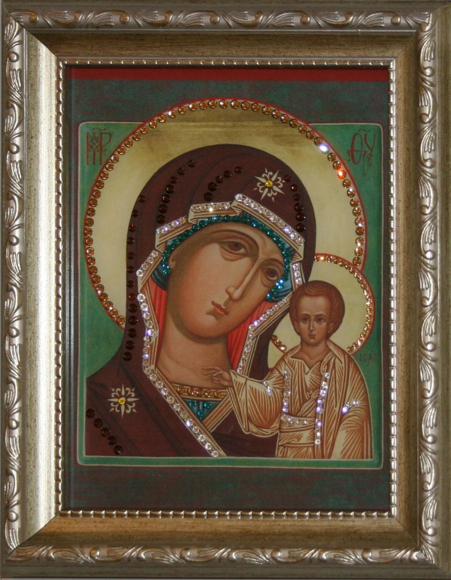 Икона Божией Матери Казанская с кристаллами Swarovski