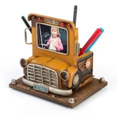 Фоторамка с подставкой для ручек Желтый школьный автобус