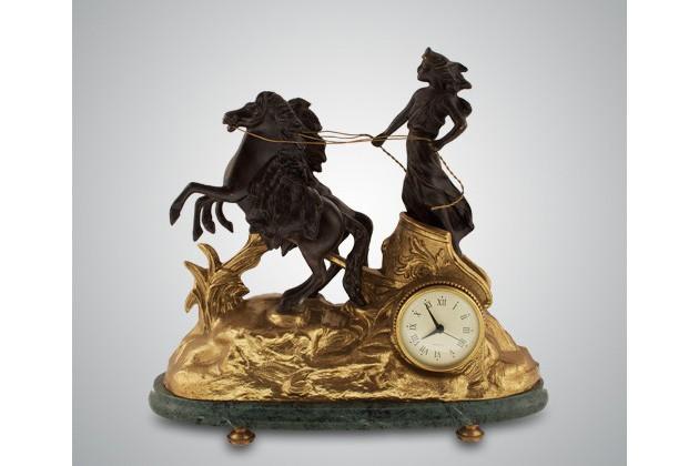 Часы ''Афина'', бронза, зеленый мрамор