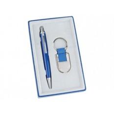 Канцелярский набор: синяя шариковая ручка и брелок