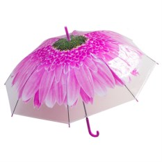 Женский зонт-купол Цветок розового цвета