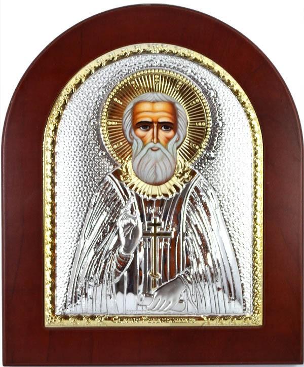 Икона Сергий Радонежский в серебряном окладе.