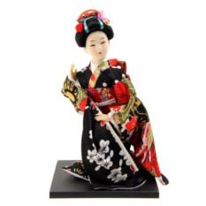 Коллекционная кукла Гейша в черном шелковом кимоно сидит