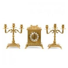 Золотистые каминные часы и 2 канделябра на 3 свечи Ларец