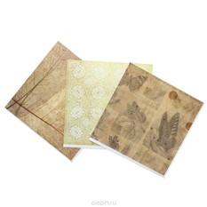 Набор бумаги для скрапбукинга Ботанический атлас, 3 листа