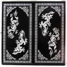 Большие деревянные нарды Драконы (цвет: черный с серебром)
