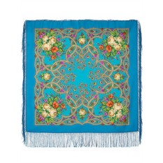 Голубой Павловопосадский платок Марья-искусница