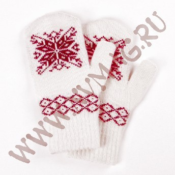 Варежки со снежинкой, красный узор