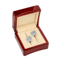 Серебряные запонки Swarovski с гравировкой